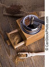 linseed., molen, handleiding, vers, grond