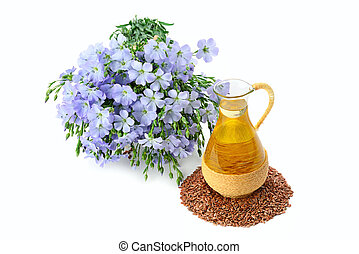 Linseed oil, flaxseed and flowers isolated on a white.