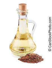 Linseed oil in a glass jug