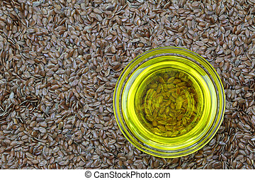 Linseed oil on flaxseed - A bowl of cold pressed Linseed...