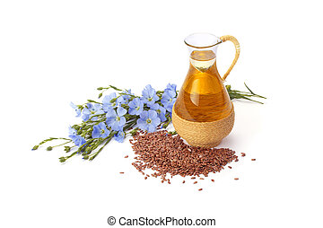 linseed oil with flax seeds - linseed oil, flaxseed and...