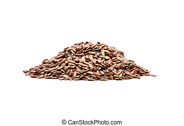 Linseed on white background