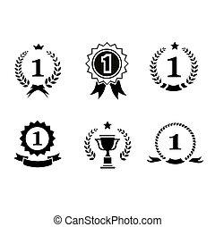 lint, black , kransen, laurier, rosettes, leider, het insluiten, wedstrijdbeker, set, emblems, witte , toewijzen, kroon, winnaar, 1, circulaire, iconen, getal