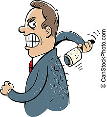 Lint Roller - A cartoon businessman struggles to use a lint...