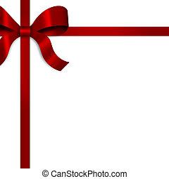lint, satijn, rood, geschenk buiging