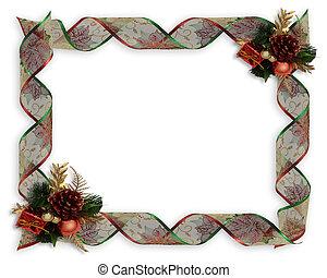 linten, frame, grens, kerstmis, of