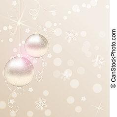 linten, glanzend, kerstmis, achtergrond, baubles