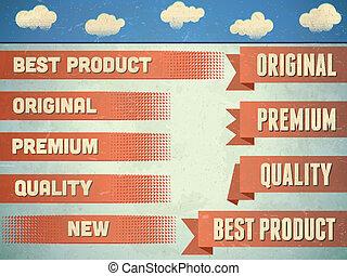 linten, kwaliteit, set, premie, ouderwetse
