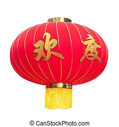 linterna, aislado, fondo., chino, blanco rojo