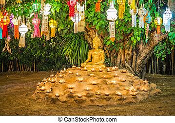 linterna, chiangmai, flotar, templo, tao, phan, tailandia, wat