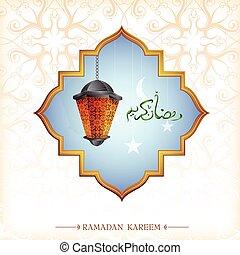linterna, diseño, ramadan, tarjeta, saludo