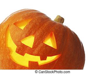 linterna, halloween, gato, o, calabaza