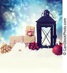 linterna, nieve, ornamentos, navidad