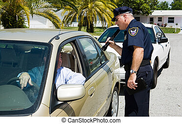 linterna, policía, -, buscando