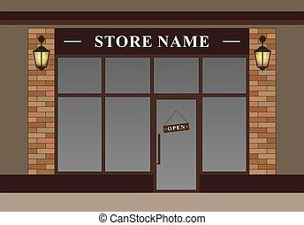 linternas, cómodo, fachada, tienda