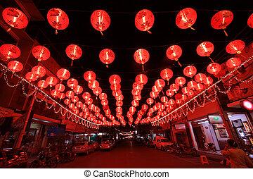 linternas, chino, rojo