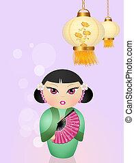 linternas,  kokeshi, chino, muñeca