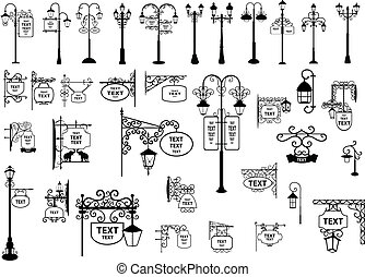linternas, placas con los nombres de las calles