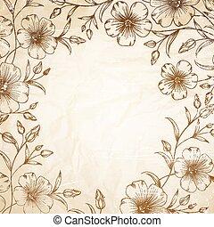 Linum flower frame over old paper. Vector illustration.