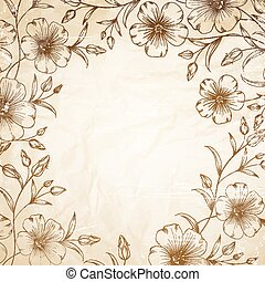Linum flower frame over old paper. Vector illustration.