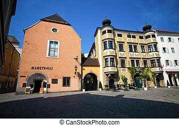 linz, austria, old town - the old town in linz, austria. ...