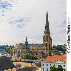 Linz Cityscape with New Cathedral, Austria