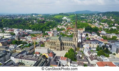 Linz New Cathedral, Austria - New Cathedral aerial panoramic...