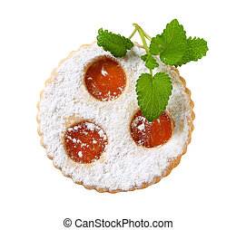 Linzer cookie with apricot jam filling