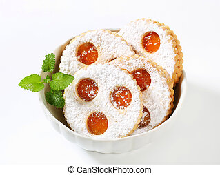 Linzer eyes - Linzer cookies dusted with confectioner's...
