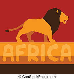 lion., étnico, fundo, ilustração, africano