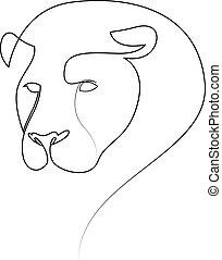 lion., être, silhouette, vecteur, conception, boîte, illustration, drawing., lion, style., ligne, main, dessiné, minimalisme, une, logo., utilisé, résumé