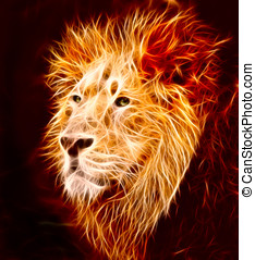 Lion - A big male Asiatic lion with lapping flames