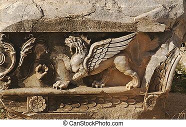 lion, ailes, soulagement