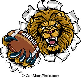 Lion American Football Ball Breaking Background