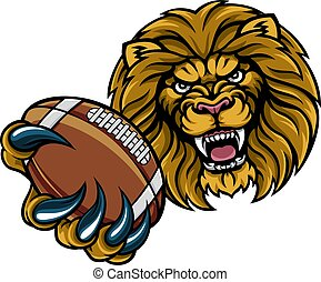 Lion American Football Ball Sports Mascot