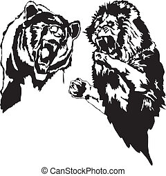 Lion and bear - Battle of a lion and a bear