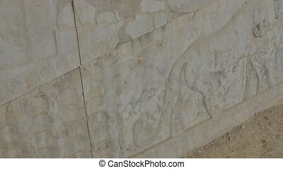 Lion and bull relief detail in Persepolis - Lion and bull...