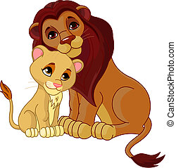 Illustration of lion father together with his cub