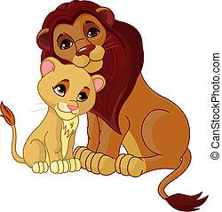 Lion and cub together - Illustration of lion father together...