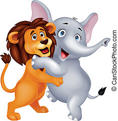 Lion and elephant embracing - Vector illustration of Lion...