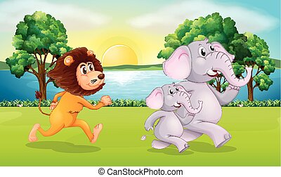 Lion and elephants running in park