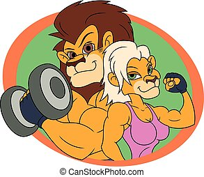 Lion and lioness posing 2