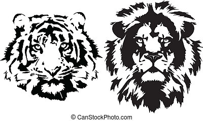 lion and tiger heads in black - Lion and tiger head in black...