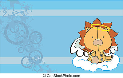 lion  angel cartoon background  in vector format