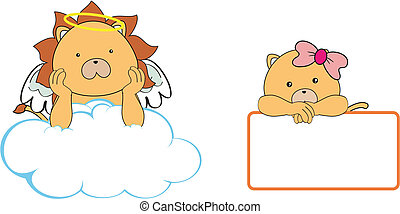 lion angel cartoon copyspace