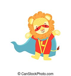 Lion Animal Dressed As Superhero With A Cape Comic Masked Vigilante Character
