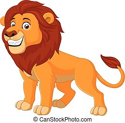 lion, animal, heureux