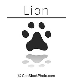 Lion animal track with name and reflection on white ...
