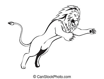 lion, attaque