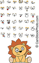 lion baby cute sitting cartoon set in vector format